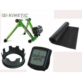 Kurt Kinetic Road Machine Fluid Trainer, Riser Ring,Watt Computer, and Kinetics Floor Mat Package
