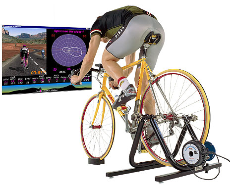 riding a bike trainer